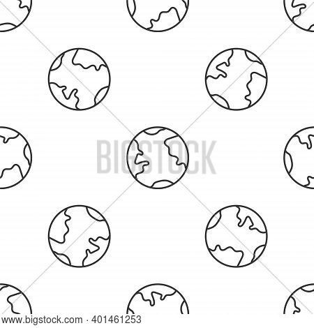 Grey Line Earth Globe Icon Isolated Seamless Pattern On White Background. World Or Earth Sign. Globa