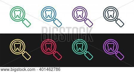 Set Line Dental Search Icon Isolated On Black And White Background. Tooth Symbol For Dentistry Clini
