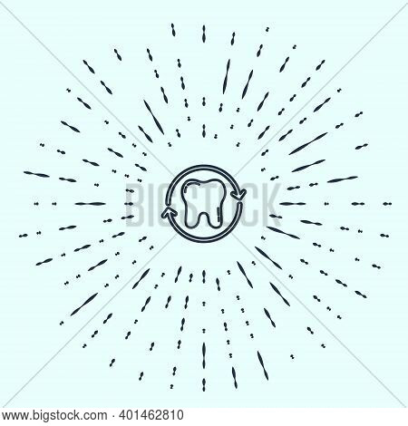 Black Line Tooth Whitening Concept Icon Isolated On Grey Background. Tooth Symbol For Dentistry Clin