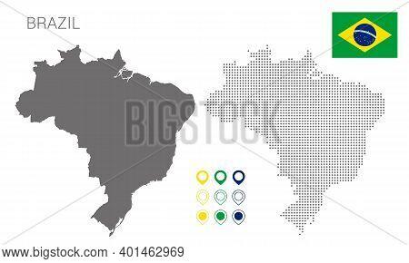 Map Of Brazil Silhouette, Brazil Map Dotted, Flag Of Brazil, Vector Illustration Flat