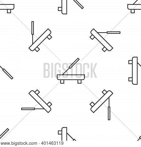 Grey Line Scented Spa Stick On A Wooden Stand Icon Isolated Seamless Pattern On White Background. In