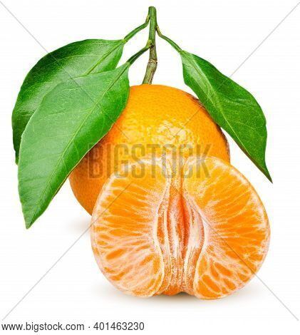 Isolated Tangerines. One Whole Tangerine Fruit With Leaves And Peeled Citrus Segments Isolated On Wh
