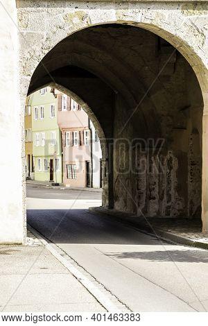 Big City Gate Through The Big Medieval City Wall