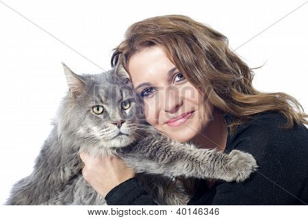 portrait of a purebred maine coon cat and woman on a white background poster