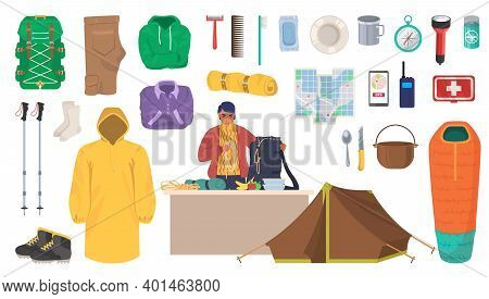 Travel Gear And Equipment. Hiking And Trekking Essentials, Flat Vector Isolated Illustration.