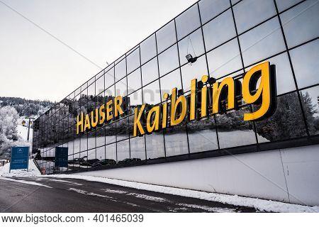 Haus Im Ennstal, Austria - December 29 2020: Hauser Kaibling Gondola Lift Station Building Facade Wi