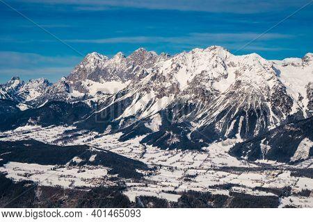 Scheichenspitze Mountain Peak In The Dachstein Mountain Range Or Massif And The Village Of Ramsau Am
