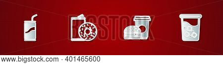Set Soda Can With Drinking Straw, Aluminum Soda And Donut, Coffee Burger And Glass Water Icon. Vecto