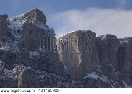 Snowy Mountains Landscape In The Aragonese Pyrenees. Selva De Oza Valley, Hecho And Anso, Huesca, Sp