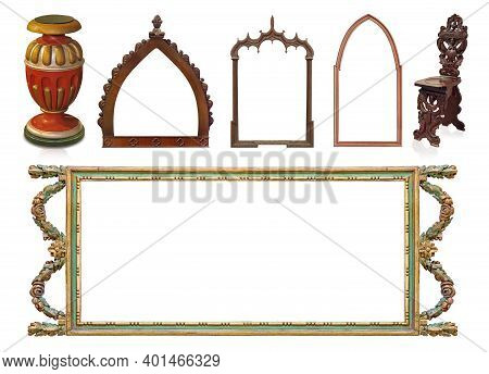 Set Of Gothic Wooden Frames For Paintings, Mirrors Or Photo And Figurines Isolated On White Backgrou