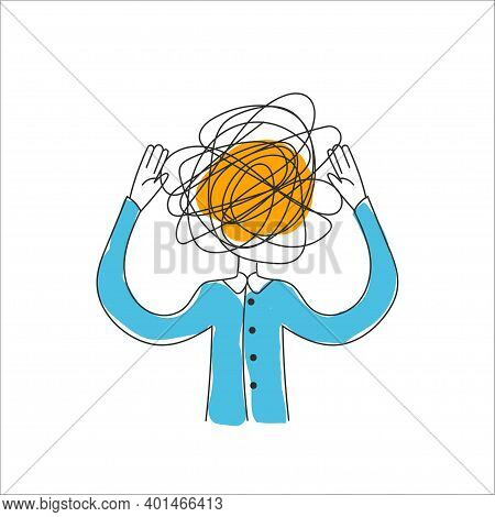 Man With Tangled Ball In His Head. Concept Of Anxiety, Panic Attack