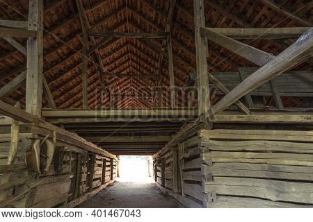 Historic Wooden Barn Interior With Hay Loft In The Great Smoky Mountains National Park. This Is A Hi