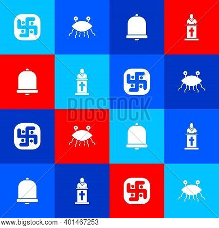 Set Jainism, Pastafarianism, Church Bell And Pastor Preaching Icon. Vector