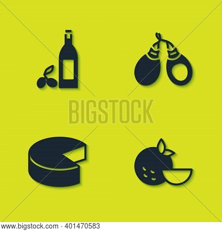Set Bottle Of Olive Oil, Orange Fruit, Cheese And Castanets Icon. Vector