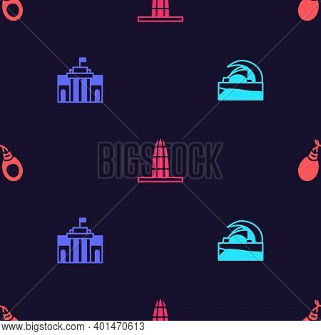 Set Concert Hall De Tenerife, Prado Museum, Agbar Tower And Castanets On Seamless Pattern. Vector