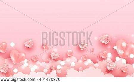 Realistic Flying Air Heart Shaped Balloon Elements And Glitter For Romantic Banner Design. Horizonta