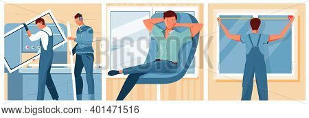 Men Installing New Modern Plastic Windows And Satisfied Customer Sitting In Armchair Flat Isolated V