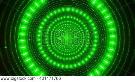 Green Neon Particles Green Glowing Design Tunnel 3d Illustration Background Wallpaper Design Artwork
