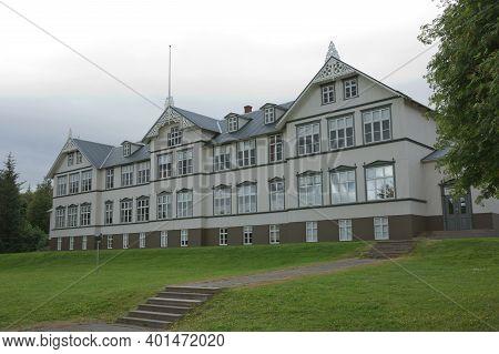 Building Of Junior College In Akureyri In Iceland During Summer