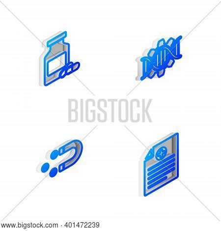 Set Isometric Line Genetic Engineering, Medicine Bottle And Pills, Customer Attracting And Clinical