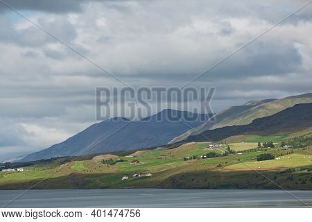 Beautiful View And Landscape Of Icelandic Fjord That Is Surrounding Town Of Akureyri In Iceland
