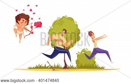 Amur Cupid Valentine Day Composition With Running Couple Pursued By Bow Boy Character With Heart Ico