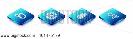 Set Isometric Line Car Mirror, Wheel, Tire And Fender Icon. Vector