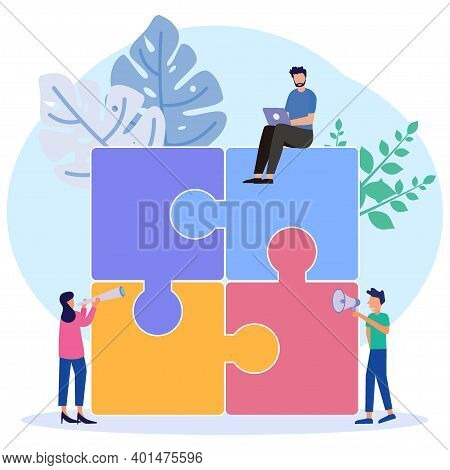 Vector Illustration, Teamwork Together In The Company, People Pick Up The Details Of The Puzzle, Arr