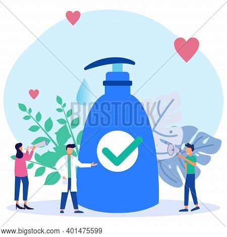 Vector Illustration Of Coronavirus Prevention Action Concept. Character Of People Washing Hands With