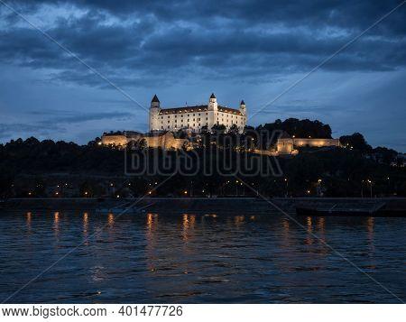 Illuminated Gothic Renaissance Baroque Medieval Bratislava Castle Fortress During Blue Hour In Slova