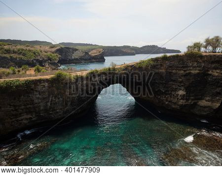 Panoramic View Of Pasih Uug Broken Beach Arch Tunnel Cliff Cove Natural Bridge Nusa Penida Klungkung