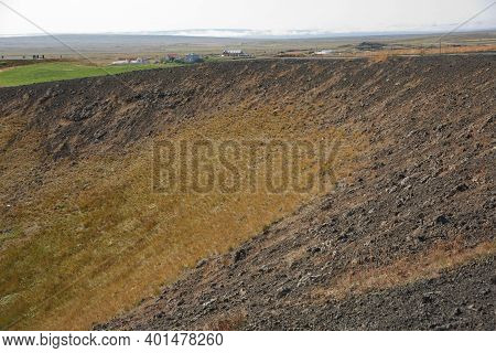 Beautiful And Rare Area Of Pseudo Craters Aka Volcanics Near Skutustadir And Lake Myvatn In Iceland