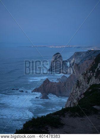 Panoramic View Of Cabo Da Roca Lighthouse Steep Rocky Cliffs Beach Coast Atlantic Ocean Sea Water Wa