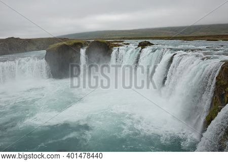 The Godafoss (icelandic: Waterfall Of The Gods) Is A Famous Waterfall In Iceland. The Breathtaking L