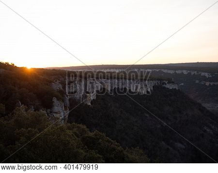 Aerial Sunset Panorama Of Canyon Canion Canon Del Ebro River Valley Between Valdelateja And Cortigue