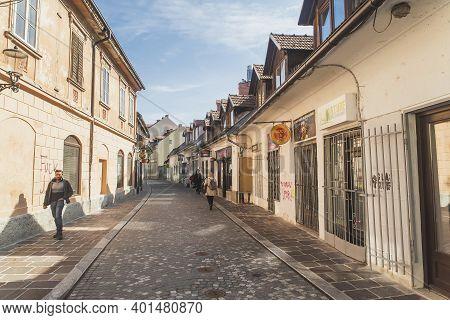 Ljubljana, Slovenia, September 2020: Picturesque Street With Cafes In Slovenia