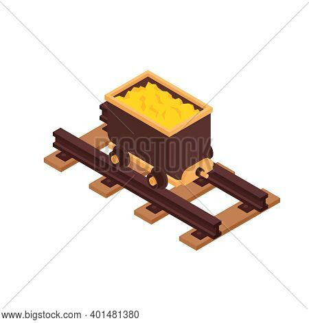 Isometric Gold Mining Rush With Isolated Gold Carriage Vector Illustration