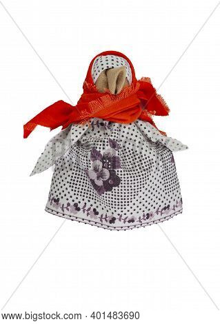 Traditional Home-made Russian Doll Made Of Fabric. A Homemade Toy Made Of Coarse Cloth. Home Crafts.