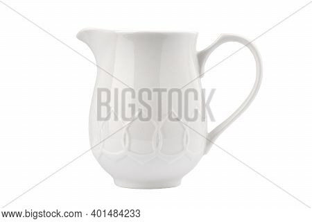 Porcelain Creamer In The Shape Of A Jug With A Handle, Isolate On A White Background