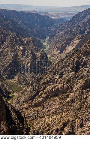 Gunnison River Passes Through Rocky Black Canyon In Colorado