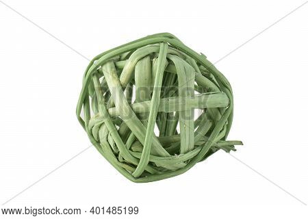 Rattan Ball Isolated On White Background With Clipping Path, Twig Ball Ornaments