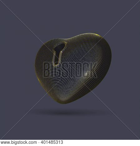 3d Golden Heart With Keyhole On Gray Background. Abstract Concept Of Online Dating And Virtual Love: