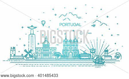 Portugal Line Skyline With Panorama In White Background