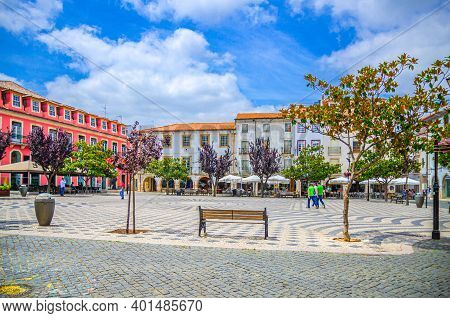 Leiria, Portugal, June 22, 2017: Praca Rodrigues Lobo Square With Typical Traditional Buildings And