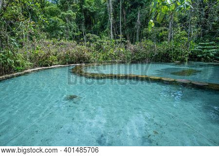 Blue Pool, Turquoise Crystal Clear Water In Forest Southern Of Thailand