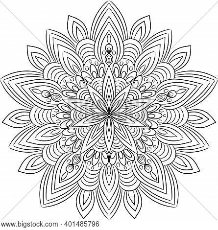 Snowflake, Coloring In A Mandala, A Circular Illustration Of The Snowflake From Plants, Hand Drawing