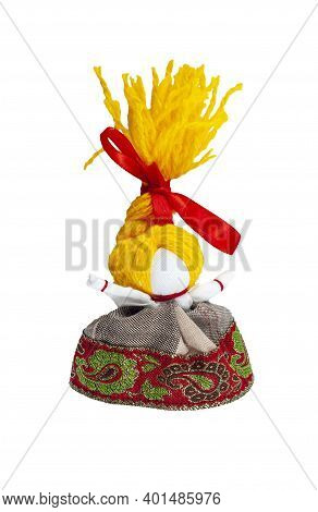 A Doll With Yellow Hair. Traditional Russian Doll Made Of Fabric. Home Crafts.