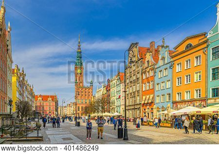 Gdansk, Poland, April 15, 2018: Cityscape With People Tourists Walking Down Dluga Long Market Pedest