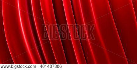 Red Cloth, Luxury Smooth Background, Wave Silk Satin, 3d Render