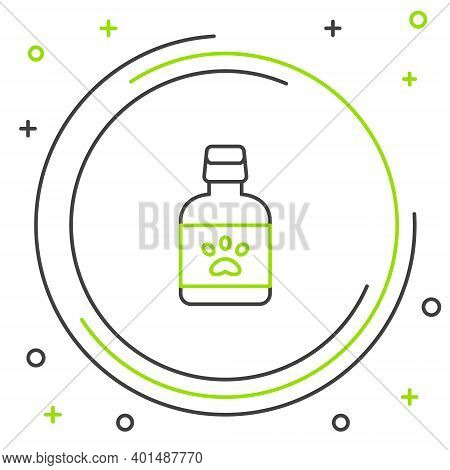 Line Dog Medicine Bottle Icon Isolated On White Background. Container With Pills. Prescription Medic